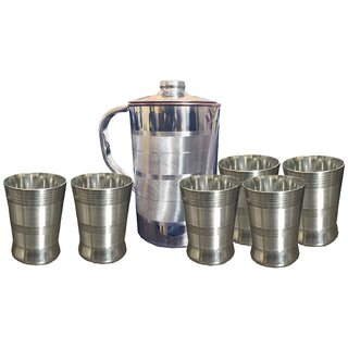Kuber Industries Copper Jug Pitcher 2500 ML Good Health Benefit For Storage & Serving Water With 6 Steel Glass (JC23)