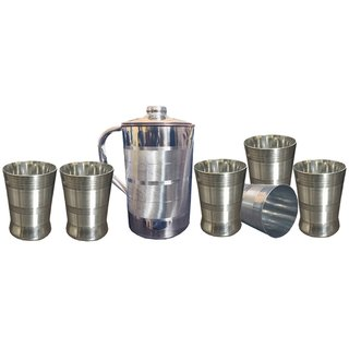Kuber Industries Copper Jug Pitcher 2500 ML Good Health Benefit For Storage & Serving Water With 6 Steel Glass (JC24)