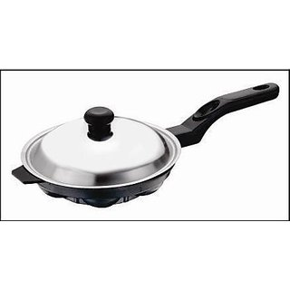 Kuber Industries Heavy Weight Non-Stick 12 Cavity Appam Patra Side Handle with lid, Black (Appam04)