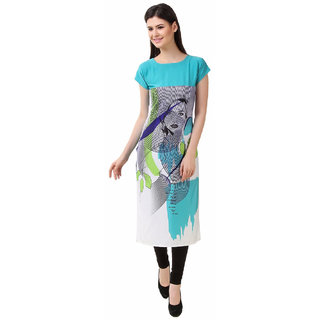 Glance Designs Woman's Digital Printed crepe straight cut kurti