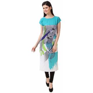 Glance Designs Woman's Digital Printed crepe straight cut kurti