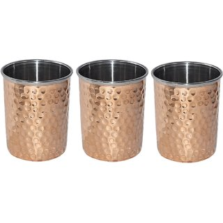 Kuber Industries Hammered Copper Drinking Glass/Tumbler in Inner Stainless Steel Material- Set of 3 Pcs 260 ML Each Ayurvedic Health benefit Drinkware  (COPS13)