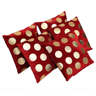 Kuber Industries Luxurious Velvet Dots Cushion Cover Set of 5 - Red - 16*16 Inches