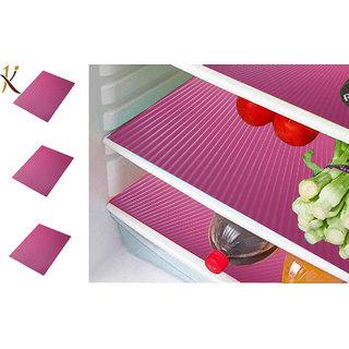 Kuber Industries Refrigerator Drawer Mat / Fridge Mat/ Place Mat Set of 6 Pcs (13*19 Inches) (Pink) Multi Purpose Use