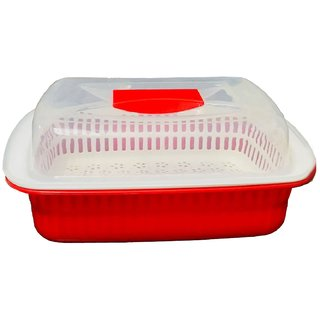 Kuber Industries Plastic Storage Basket Boxes Organizer Container Bin For Storing Fruits Vegetables & Multipurpose Use With Lid (Basket01)