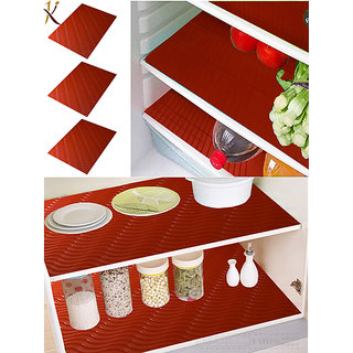 Kuber Industries Refrigerator Mat/Fridge Mat/Drawer Mat/Place Mat Set of 6 Pcs (13*19 Inches) (Red) Multi Purpose Use