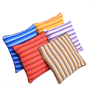 Kuber Industries Cotton Fabric Striped Multicolor Cushion Cover Set of 5 - 16*16 Inches