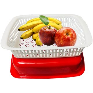 Kuber Industries Plastic Storage Basket Boxes Organizer Container Bin For Storing Fruits Vegetables & Multipurpose Use With Lid (Basket03)