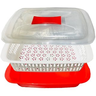 Kuber Industries Plastic Storage Basket Boxes Organizer Container Bin For Storing Fruits Vegetables & Multipurpose Use With Lid (Basket04)