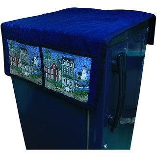 Kuber Industries Fridge Top Cover / Refrigerator Cover in Velvet Touch- Blue