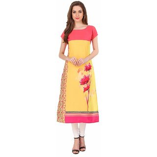 Glance Designs Woman's Yellow And Pink Digital Printed crepe straight cut kurti
