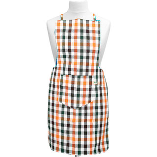 Kuber Industries Check Design Kitchen Apron With Front Pocket