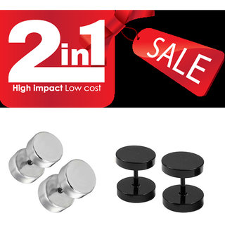 COMBO of BlacK Silver Barbell Stainless Steel Stud Earrings for Mens Women Unisex Fashion Piercing Earring 2 Pair CODEPs-6025