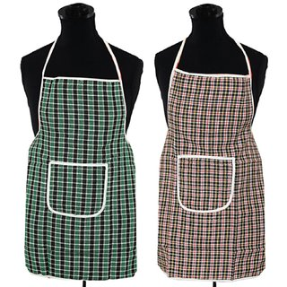 Kuber Industries Check Design Waterproof Kitchen Apron With Front Pocket Set of 2 Pcs