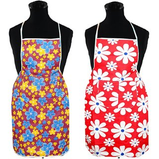 Kuber Industries Floral Design Waterproof Kitchen Apron With Front Pocket Set of 2 Pcs