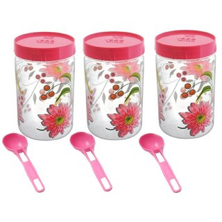 Kuber Industries Plastic Container Set/Storage Box Set of 3 Pcs Comes With Spoon (1100 Ml Each) Contain03