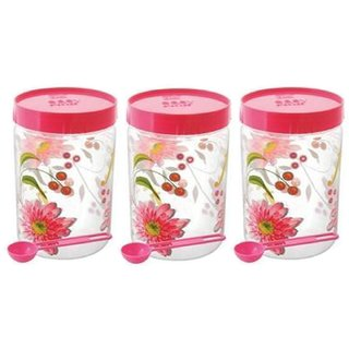 Kuber Industries Plastic Container Set/Storage Box Set of 3 Pcs Comes With Spoon (1100 Ml Each) Contain06