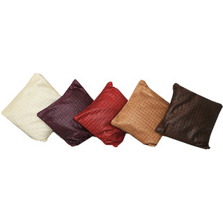 Kuber Industries Imported Fabric Cushion Cover 16*16 Inches - Set of 5 Pcs (Multi)KU115