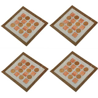 Kuber Industries Dining Table Place Mats Set of 4 Pcs in laminated Patch Design (Square 30 x 30 Cm) KU170