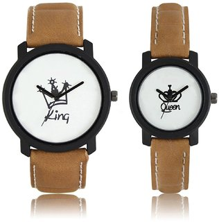 5star Round Dial Brown Leather Strap Analog Men's  Women's Couple Watch - Lr-King Queen