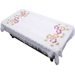 Kuber Industries Center Table Cover White Floral Design in Cloth 40*60 Inches - KU281