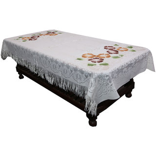 Kuber Industries Center Table Cover Cream Floral Design in Cloth 40*60 Inches - KU283