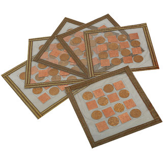 Kuber Industries Bed Side Table Mat,Table Mat Set of 6 Pcs in laminated Patch Design (Square 30 x 30 Cm) KU168