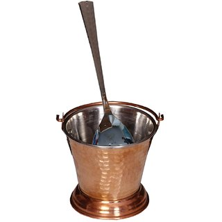 Kuber Industries Handmade Hammered Copper Steel /Copper Gravy Bucket/Balti With 1 Copper Serving Spoon For Serving Dishes (Buck08)
