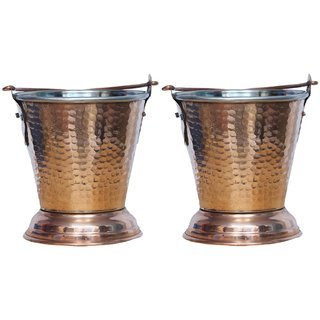 Kuber Industries Handmade Hammered Copper Steel /Copper Gravy Bucket/Balti Set of 2 Pcs For Serving Dishes (Height: 5 Inches Width: 4 Inches Depth: 2.5 Inches) (Buck10)