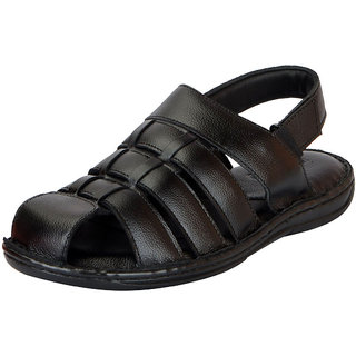 bc0fc0e12974 Buy FAUSTO Black Men s Leather Sandals Online - Get 14% Off