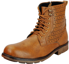 Fausto Tan Mens High Ankle Boots