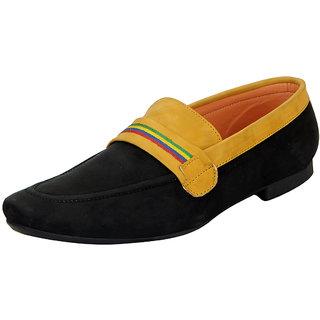 FAUSTO Black Beige Mens Trendy Loafers