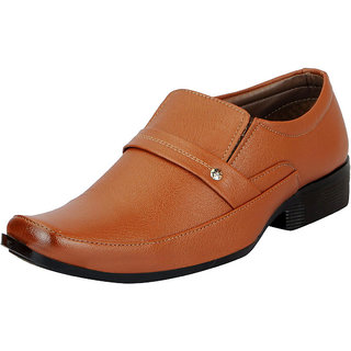 FAUSTO Tan Mens Formal Slip On Shoes