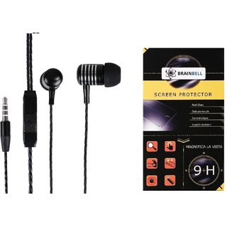 BrainBell COMBO OF UBON Earphone MT-41 POWER BEAT WITH CLEAR SOUND AND BASS UNIVERSAL And  MICROMAX BOLT Q339 Glass Screen Protector