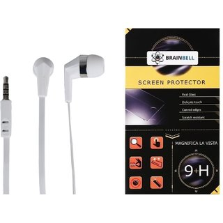 BrainBell COMBO OF UBON Earphone UH-197 BIG DADDY BASS NOICE ISOLATING CLEAR SOUND UNIVERSAL And  LG STYLUS 2 Glass Screen Protector