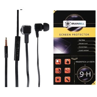 BrainBell Combo Of UBON Earphone BS-37 BEAST SERIES BIG DADDY BASS And  LYF WATER 5 Tempered Screen Protector