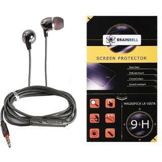BrainBell Combo Of UBON Earphone SM-50 SOUND MASTER SERIES BIG DADDY BASS And  LYF WATER 5 Glass Screen Guard