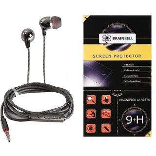 BrainBell Combo Of UBON Earphone SM-50 SOUND MASTER SERIES BIG DADDY BASS And  LYF WATER 5 Glass Screen Guard
