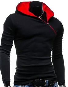 Prime Red Brick Men's Black  Red Hooded T-Shirt