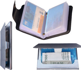 Nandini Combo of Black Leatherite Wallet With Silver Steel Card Holder (Pack of 2)