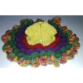 Woolen handmade floral frill multicolor poshaak gopal ji dress