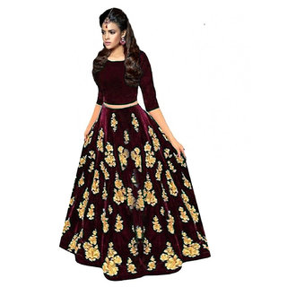 New Designer Marron Colour Velvet Material Wedding Party And Function Wear Lehengha For Women And Girl(cut)