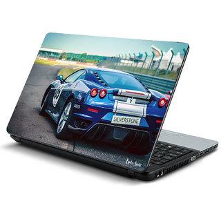 Blue car laptop skin