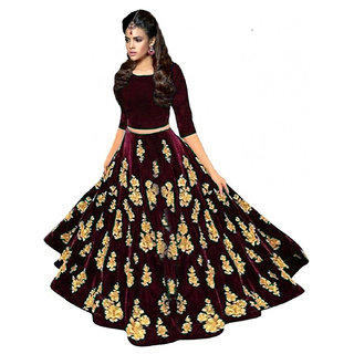 New Designer Marron Colour Velvet Material Wedding Party And Function Wear Lehengha For Women And Girl(full)
