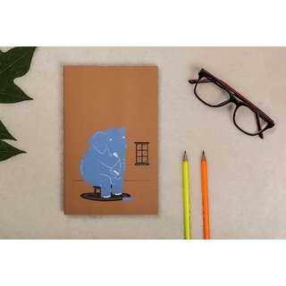 Collarfolk Elephant Notebook/diary with Quirky design A5, 150 pages, Plain, Brown