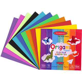 Bambalio Origami Paper-Pack of 400 Sheets Smooth Finish 75 gsm 15x15 cm size Assorted 10 Colors Art  Craft Origami Pape