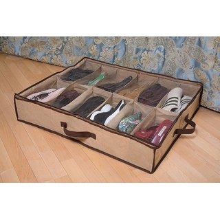 Shoes Under Bed Closet Storage Fabric Shoes Organizer 1 X 12 Pairs - SHUND