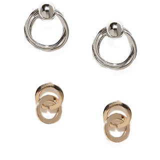 Rubans Set OF Two Loop Stud Earrings