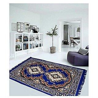 Buy DECOR FACTORY Velvet Touch Traditional Chenille Jute Carpet -5X7 Feet, Blue Online @ ₹649 from ShopClues