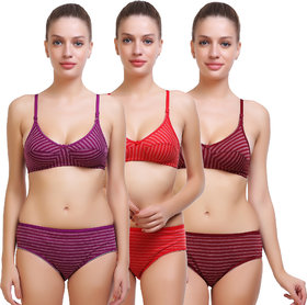 SK Dreams Striped Lingerie Sets (Pack of 3)